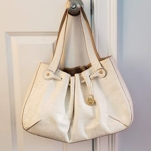 EUC Brahmin Luxury White leather tote handbag